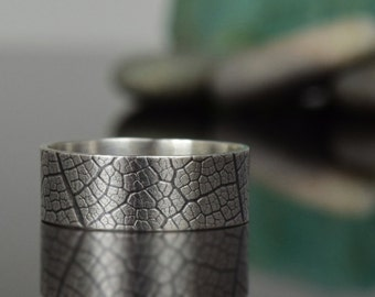 Leaf Textured Silver Band - Sterling Silver Ring -leaf textured- oxidized