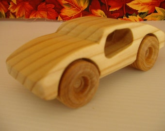 Handcrafted wooden sports car
