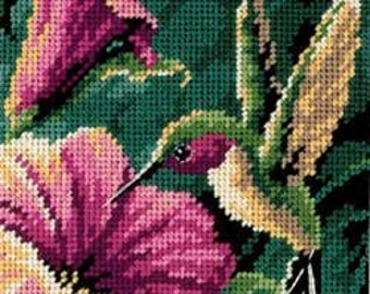 Hummingbird Drama needlepoint kit (floss)