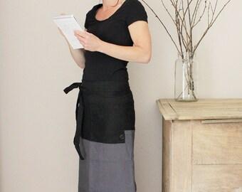 Black and grey linen bistro apron, Pre washed long half apron, Eco friendly