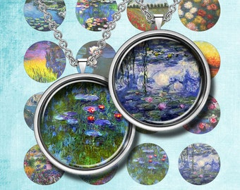 MONET PAINTING - Digital Collage Sheet – 12 mm, 16 mm and 18 mm sizes– Printable Download for Pendants, Earrings, Charms