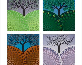 Seasons, fine art print the Spring, Summer, Fall and Winter Trees