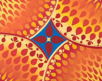 Red Blue and Yellow Star, fine art print