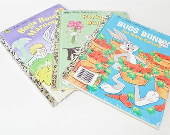 Three Little Golden Books - Warner Bros Collection - Bugs Bunny Too Many Carrots - Porky Pig Petunia - Marooned - Childrens Hardcover
