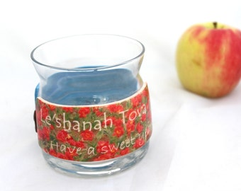 Rosh Hashana, Jewish New Year Gift, personalized jewish gift, Honey Pot,  Glass Honey Jar, Sugar Jar, Honeypot, Glass Jam Jar, Lidded Jar,