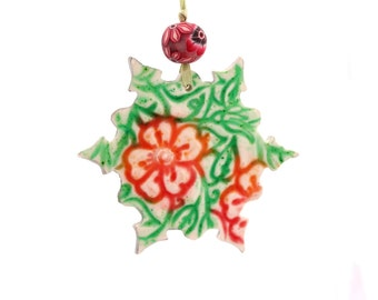 Holiday ornaments, Snowflake ornaments, Christmas tree Ornaments, Green ornament, Christmas ornaments, Christmas decoration, Medium size