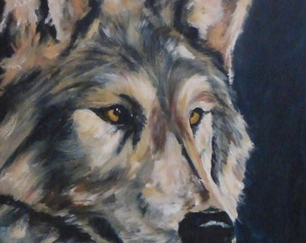 Valentines Day Sale Endangered - original Wolf painting oil on canvas 16' x 20""