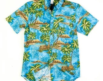 Men's Hawaiian Shirt in Blue Palms