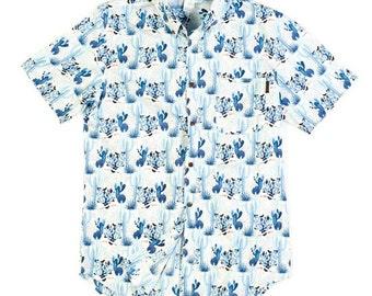 Men's Short Sleeve Shirt In Cactus Blue