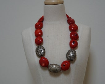 Vintage Tibetan and Coral nuggets necklace.