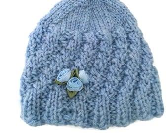Blue Baby Handknit Hat, Infant Soft Blue Hat, Newborn to 9 mo Handmade Knit Hat, Baby Embellished Hat, Infant Shower Gift