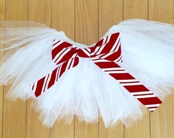 white newborn tutu, white tutu, baby tutu, Christmas tutu, christmas baby, candy cane tutu, candy cane bow, red tutu
