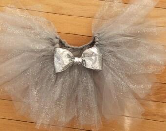 silver glitter tutu, glitter tutu, silver tutu, newborn tutu, baby tutu, silver baby tutu, glamourous tutu, chic tutu, chic baby