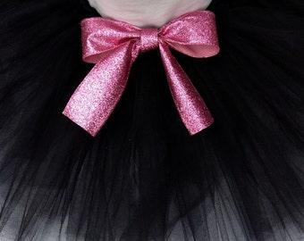 black tutu with pink glitter bow, glitter tutu, black pink tutu, infant tutu, baby tutu, newborn tutu, pink glitter bow, pink black tutu