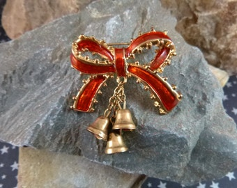 Festive Holiday Vintage Brooch Red Ribbon Bow with Dangling Bells