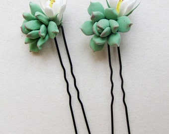 Succulent hair pins. Bridal succulent hair pins. Bridal hair accessories. Light sage green succulent, real touch succulent.