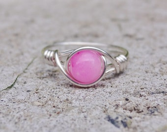 Silver wire ring, silver ring, pink stone ring, stone ring, gemstone wire ring, apatite wire ring, statement ring, custom wire ring, stone