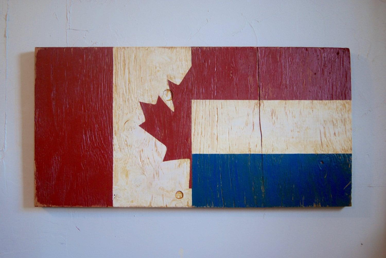 half canada half dutch wood flag sign holland sign canada