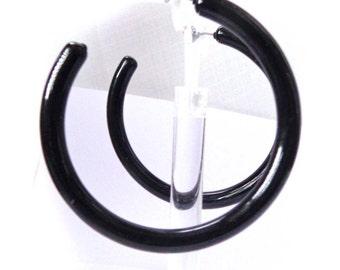 VINTAGE HOOP Earrings Lightweight Black Hoop Earrings Tube Hoops 2.75 inch Earrings