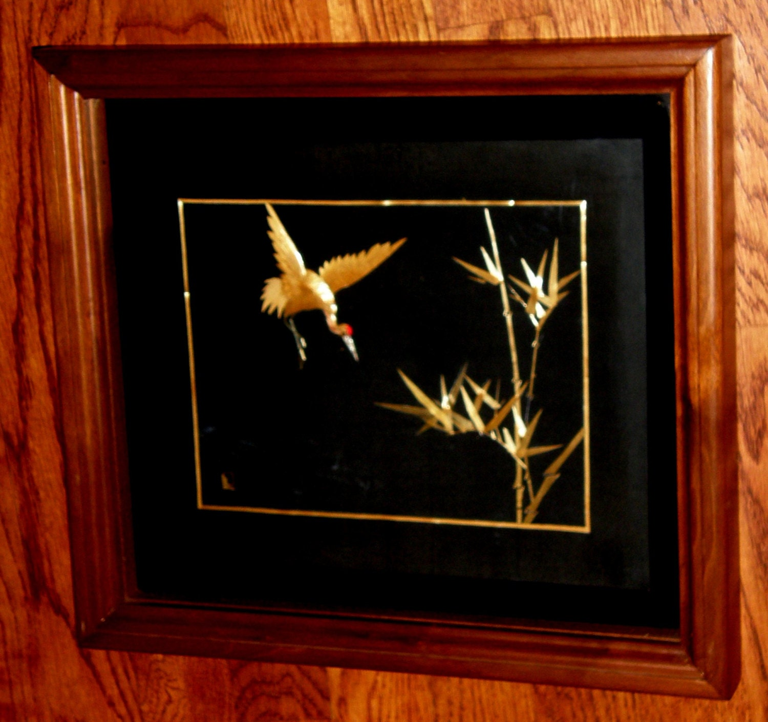 Asian Crane Hand crafted Wall Decor Art Panel Oriental Bamboo
