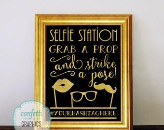 Selfie Station Photo Booth Prop Chalkboard Sign Custom