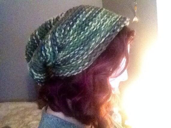 Slouchy Camo Knitt Beanie Hat. Vegan Hat.