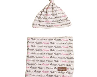 Personalised Wrap Swaddle Blanket and Knot Beanie Hat