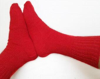 RED Wool Socks, Hand Knitted socks, Natural pure eco 100 % wool socks, Handmade socks