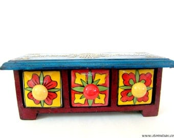 Home Decor Wooden Chest 3 Drawer Ceramic Horizontal Boho Chic Rugged Indian Handicraft Ceramic Clay Cone Painting Rajasthani Housewarming