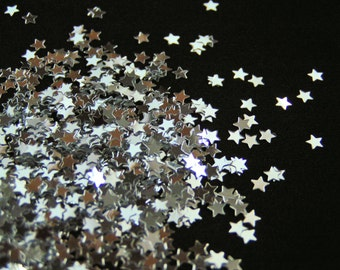 solvent-resistant glitter shapes-small silver stars