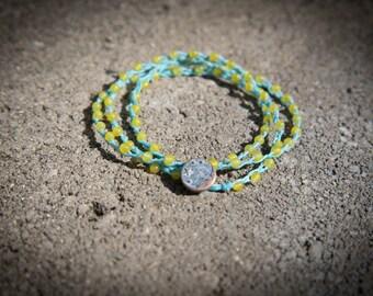 Three Wrap Irish Linen Bracelet with Yellow Agate Beads - REIKI Charged