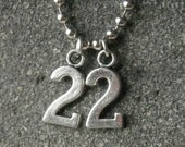 Shane's number 22 Necklace -  Inspired by The Walking Dead