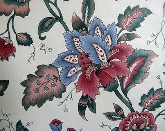 Vintage 1980s Vinyl Wallpaper Cream Dark Pink Village Craft Paper Supplies