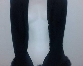 Black 90s marabou feather jacket