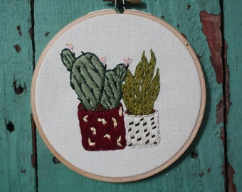Succulent House Plant Embroidery