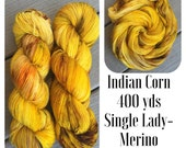 Indian Corn, 400 yds on Single Lady a fingering weight single ply merino