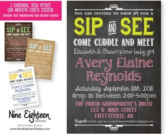 Sip & See Baby Shower Invitation. Customized invitation includes a Printable PDF and JPG file. Choose your background and accent colors.