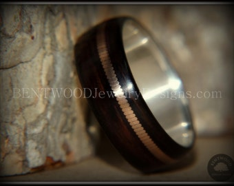 "Bentwood Wood Ring - ""Heavy Acoustic Minimalist"" Ebony Wooden Ring on Fine Silver Core Bronze Acoustic Guitar String Inlay"