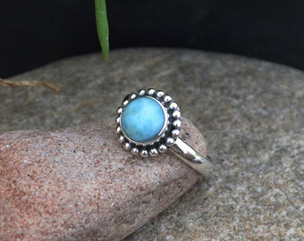 Dominican Larimar Ring, Sterling Silver Ring, Natural Gemstone Ring,Yellow Gold Ring, Bezel Ring,Birthstone Statement Ring, Select Your Size