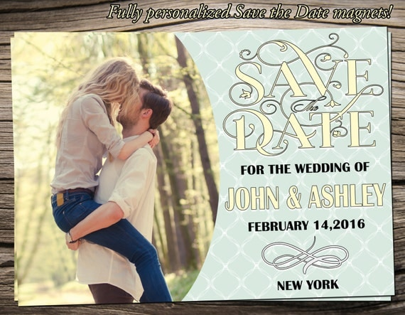 """Save The Date Magnet 5""""x7"""", Save The Date Announcement, Wedding / Engagement - S007"""