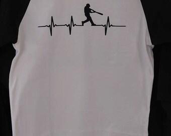 Baseball Raglan T-shirt, Baseball t-shirt, Baseball Heartbeat, Baseball Heartbeat t-shirt