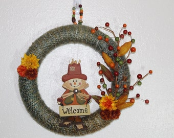 Fall Wreath, Thanksgiving Wreath, Yarn Wreath, Fall Wall Hanging, Fall Door Hanger, Fall Home Decor, Scarecrow Decor, Hostess Gift