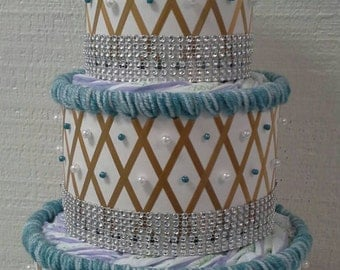 Mint and Gold Bling Diaper Cakes , Elegant Mint Lace and Gold Themed Baby Girl Shower Decor , 3 Tier Creative Table Centerpiece Baby Gift