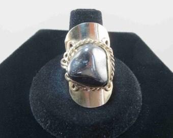 Vintage Hematite Ring Size 10 Adjustable