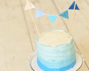 Ombre cake topper, blue ombre cake topper, blue cake topper