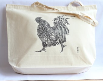 Rooster Canvas Shopper