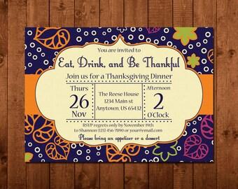 Thanksgiving Invitation, Friendsgiving Invitation, Fall Leaves, Orange, Green, Navy Blue, Pink, Family Dinner, Ditital printable DIY