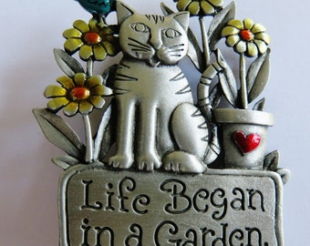 JJ Jonette Life Began In A Garden Brooch Pin