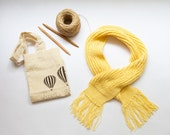 Hand Knit Yellow Scarf Fo...