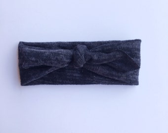 Gray marbled knotted baby headband